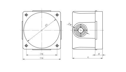 Rysunek - Puszka podtynkowa do gniazd izolacyjnych tablicowych 16A i 32A
