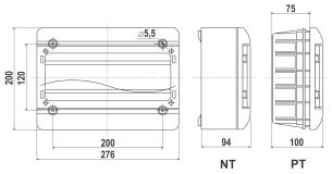 Rysunek - Rozdzielnica natynkowa i p/t 13 modułowa z drzwiczkami