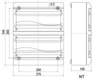 Rysunek - Rozdzielnica natynkowa 26 modułowa z drzwiczkami