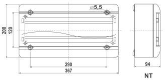 Rysunek - Rozdzielnica natynkowa 18-modułowa z drzwiczkami
