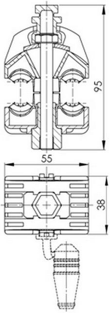 Rysunek - Zacisk przebijający izolację ZP95